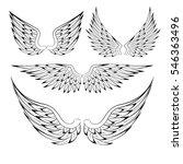 set of heraldic bird angel... | Shutterstock .eps vector #546363496