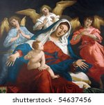 Blessed Virgin Mary with baby Jesus and angels - stock photo