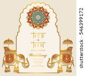 indian wedding invitation card... | Shutterstock .eps vector #546399172