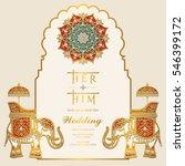 indian wedding invitation card... | Shutterstock .eps vector #546399172