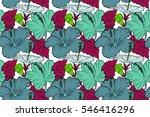 tropical floral seamless... | Shutterstock . vector #546416296