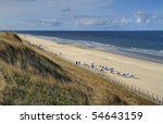 Beach view from Dunes on the Island of Sylt - stock photo