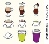 hand drawn coffee in cups and...   Shutterstock .eps vector #546436192