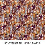 woman crowd big group color... | Shutterstock .eps vector #546456346