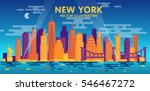 night new york city skyline ... | Shutterstock .eps vector #546467272
