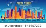 night new york city skyline ...   Shutterstock .eps vector #546467272