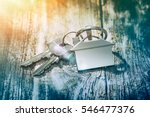 house key on a house shaped... | Shutterstock . vector #546477376