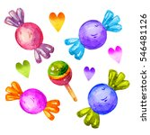 colorful watercolor candy set... | Shutterstock . vector #546481126