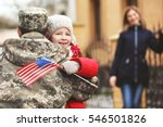 happy reunion of soldier with... | Shutterstock . vector #546501826
