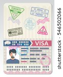 open custom passport with visa... | Shutterstock .eps vector #546502066