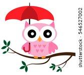 rose owl sitting on the branch... | Shutterstock .eps vector #546527002