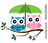 two owls sitting on the branch... | Shutterstock .eps vector #546530386