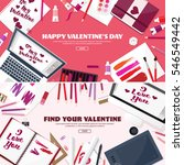 valentines day. workplace with... | Shutterstock .eps vector #546549442