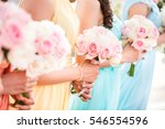 bridesmaid holding a bouquet of ...   Shutterstock . vector #546554596