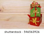 time gifts   gift box on wood... | Shutterstock . vector #546563926