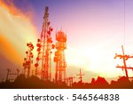 silhouette antennas on sunset... | Shutterstock . vector #546564838