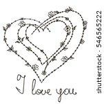 vector hearts  frame of doodles.... | Shutterstock .eps vector #546565222