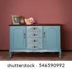 Vintage Blue Wooden Dresser ...