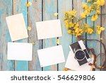 retro camera and empty old... | Shutterstock . vector #546629806