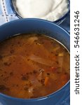 Small photo of Russian cabbage soup (Shchi) in ceramic bowl