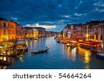 grand canal at night  venice | Shutterstock . vector #54664264
