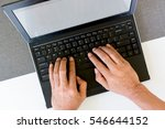 hand of man typing on laptop ...   Shutterstock . vector #546644152