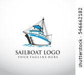 fishing boat logo template.... | Shutterstock .eps vector #546662182