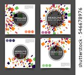 set of square color brochures ... | Shutterstock .eps vector #546678976