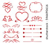 valentine day set of red arrows ... | Shutterstock .eps vector #546690616