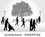 crowd of people walking. | Shutterstock .eps vector #546695236