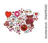 teddy bear. balloons. hearts.... | Shutterstock .eps vector #546698182