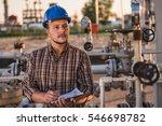 man checking manometer in... | Shutterstock . vector #546698782