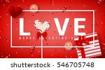 Stock vector happy valentine s day red banner top view on composition with lollipop gift box case for ring 546705748