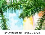 palm trees on the background of ... | Shutterstock . vector #546721726