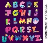 cute cartoon alphabet for...   Shutterstock .eps vector #546733066