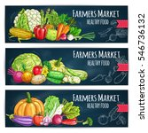 vegetables banners with harvest ... | Shutterstock .eps vector #546736132