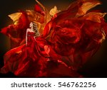 woman fashion dress flying red... | Shutterstock . vector #546762256