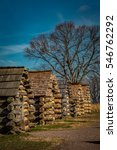 Small photo of Row of reproduction rustic cabins used by Revolutionary War soldiers under command of General Washington during the winter of 1777-78. Located in Valley Forge National Historic Park, Pennsylvania, USA