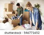 waist up of moving house couple ...   Shutterstock . vector #546771652