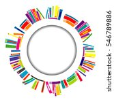 round frame with stylized books | Shutterstock . vector #546789886
