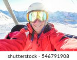 happy skier taking selfie photo ... | Shutterstock . vector #546791908