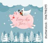 flying pig on a winter... | Shutterstock .eps vector #546798295