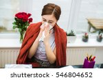 sick young businesswoman at her ... | Shutterstock . vector #546804652