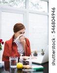 young busineswoman using laptop ...   Shutterstock . vector #546804946