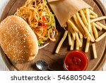 tasty burger with french fries... | Shutterstock . vector #546805042