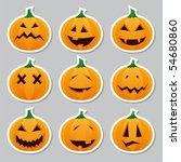 halloween pumpkins   stickers | Shutterstock .eps vector #54680860