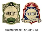 Vector image of two vintage labels - stock vector
