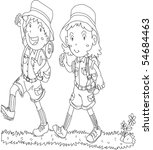 sketch of boy and girl on white ... | Shutterstock .eps vector #54684463