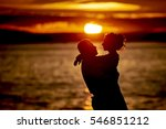 silhouettes in love romantic... | Shutterstock . vector #546851212
