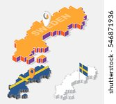 sweden flags on map element and ... | Shutterstock .eps vector #546871936